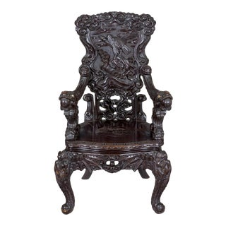 Carved Japanese Armchair with Inset Ivory