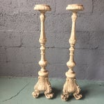 Image of Vintage Plaster Plant & Candle Holders - A Pair