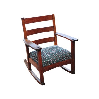 Antique Arts & Craft Mission Oak Rocking Chair