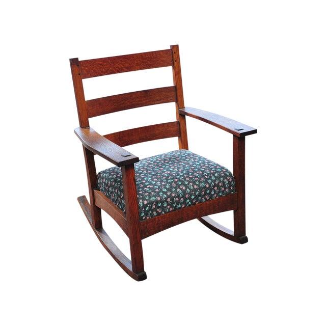 antique arts craft mission oak rocking chair chairish