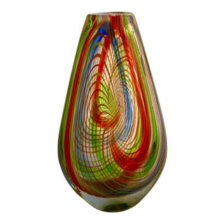 Mid-Century Murano Multi-Colored Swirl Teardrop Vase
