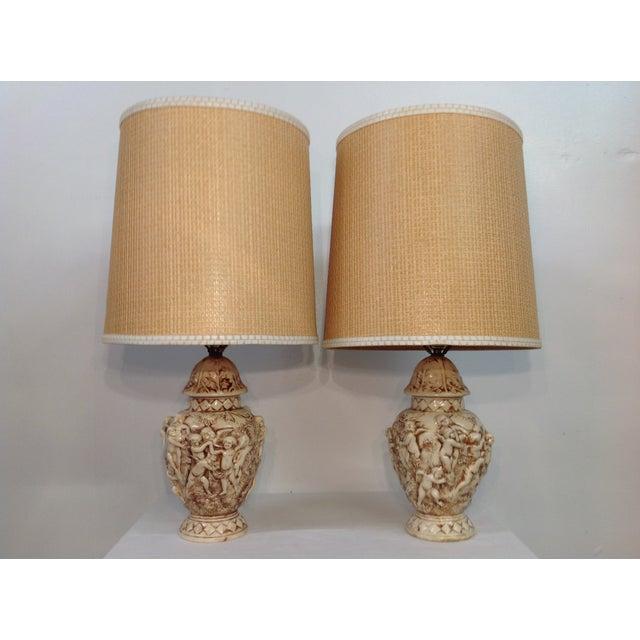Majolica Porcelain Cherub Relief Lamps - Pair - Image 2 of 9