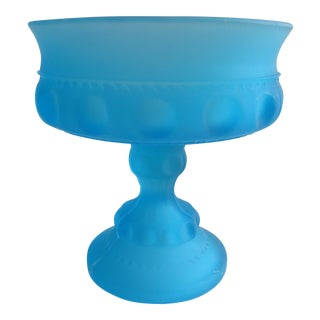 Blue Indiana Glass Company Footed Candy Dish