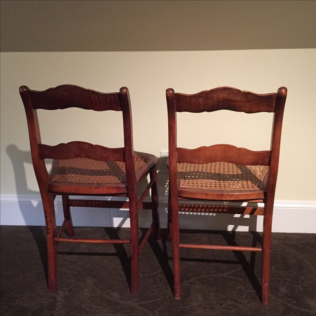 Antique Tiger Maple Chairs - Image 6 of 6