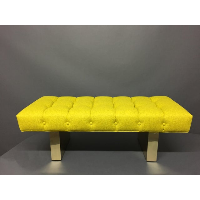 Mid-Century Modern Bright Yellow Tufted Bench on Brass Base - Image 2 of 11