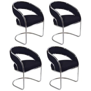 Set of Four Contemporary Shells Inc. Upholstered Chrome Sling Back Dining Chairs