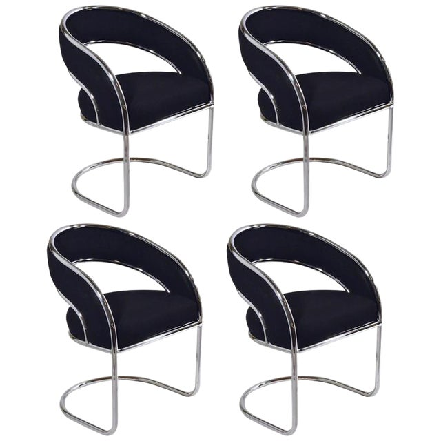 Image of Set of Four Contemporary Shells Inc. Upholstered Chrome Sling Back Dining Chairs