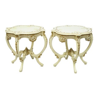 Vintage Roma Furniture French Provincial Louis XV Floral Painted End Tables - A Pair