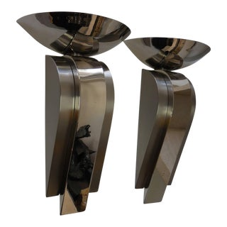 Large Stainless Steel Sconces