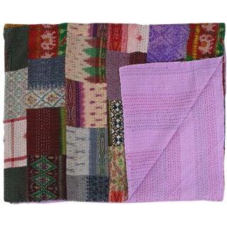 Silk Kantha Quilt | Double Bedspread