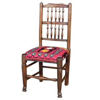English Spindle Back Suzani Side Chair