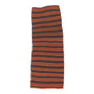 Vintage Turkish Orange & Black Striped Kilim Rug - 3′6″ × 8′10″