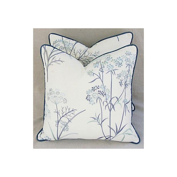 Designer Embroidered Blue Flower Pillows - A Pair - Image 4 of 8