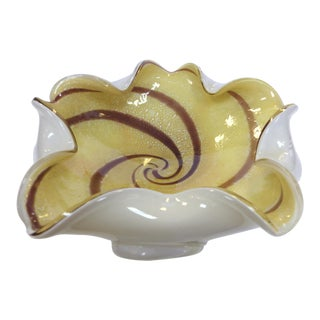 Murano Cased Glass Floriform Bowl