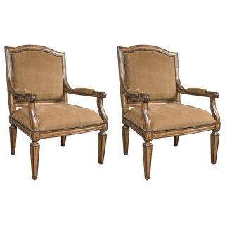 Louis XVI Style Suede Armchairs - A Pair