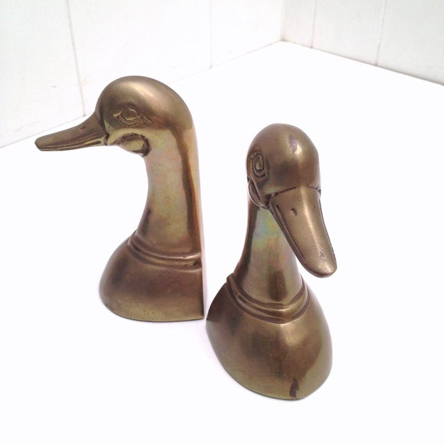 Vintage Mid-Century Brass Duck Bookends - Image 5 of 6