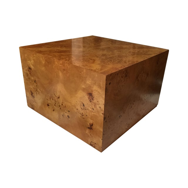 Olive Burl Wood Cube Coffee Table 1970 39 S Chairish
