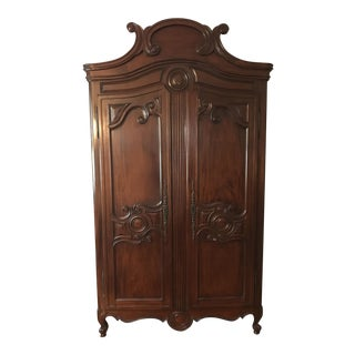 Traditional Carved Wood Armoire