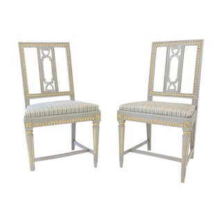 Gray Swedish Gustavian Dining Chairs - A Pair