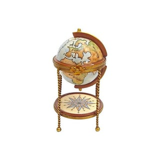 Vintage Porcelain & Brass Globe Bar Limoges Box