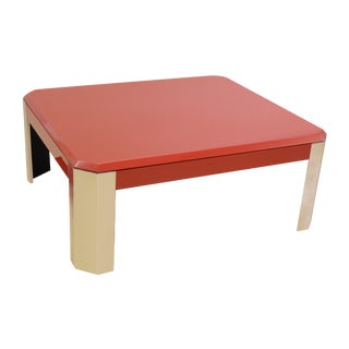 Contemporary Red & Stainless Steel Coffee Table