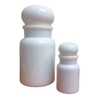 Belgian Milk Glass Apothecary Jars - A Pair