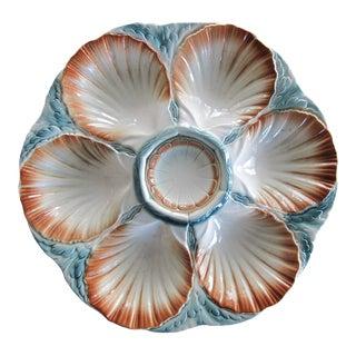 Sarreguemine Majolica Oyster Plate