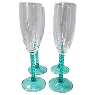 Blue Stem Champagnes Glasses - Set of 4