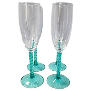 Blue Stem Champagnes Glasses - Set of 4
