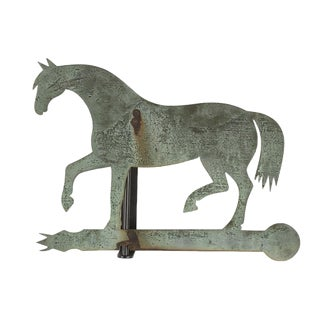 HORSE WEATHERVANE MADE OF SHEET BRONZE WITH IRON FITTINGS AND SUPERB FOLK QUALITY, CA 1840-60