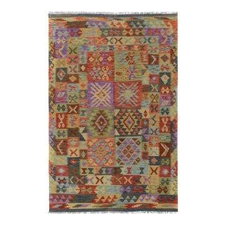 """Kilim Arya Clemente Purple/Rust Wool Rug - 4'10"""" X 6'8"""""""