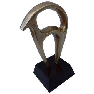 Mid-Century Polished Bronze Gazelle Sculpture