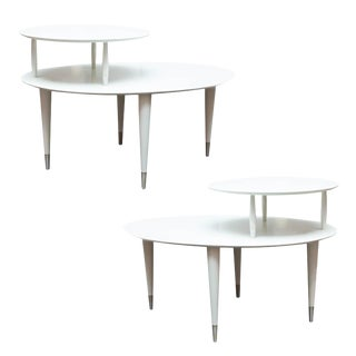 Mid-Century Modern Lacquered Two Tiered Oval End Tables- A Pair
