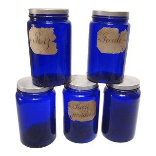 Vintage French Kitchen Storage Jars- Set of 5