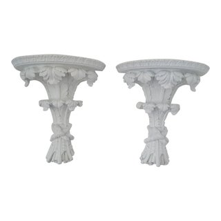 Set of 2-Hollywood Regency Rococco White Decorative Wall Corbels