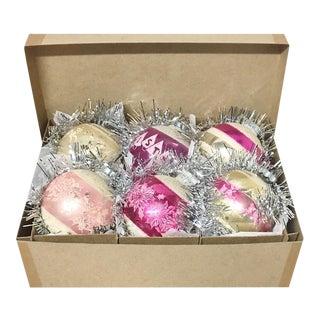 1960's Vintage Shiny Brite Pink Christmas Tree Ornaments - Set of 6