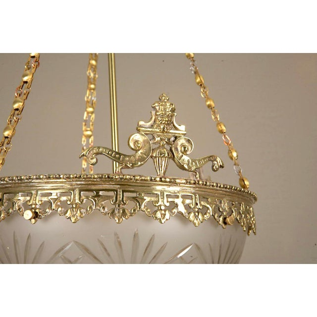 Gilt Bronze and Etched Glass Dome Hanging Fixture - Image 3 of 7