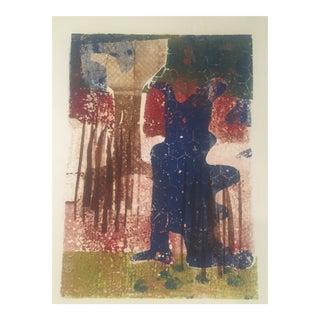 Vintage Mid Century Original Abstract Wood Block Print