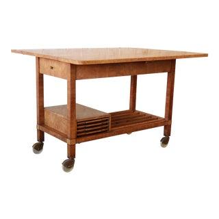 Bernhard Rohne for Mastercraft Burled Olive Wood Bar Cart