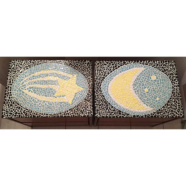 Image of 1970's Mosaic Top Nightstands - A Pair
