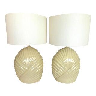 Mid-Century Beige Ceramic Table Lamps - Pair