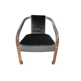 Sculptural Lucite & Velvet Chair