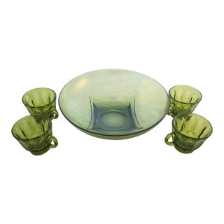 Green Vintage Cups and Serving Bowl - Set of 5