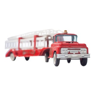 Red Hook and Ladder Vintage Toy Fire Truck Facing Front Right Photograph