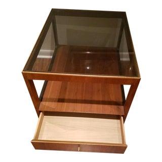 Mid-Century Modern Lane Teak Table with Smoked Glass Top