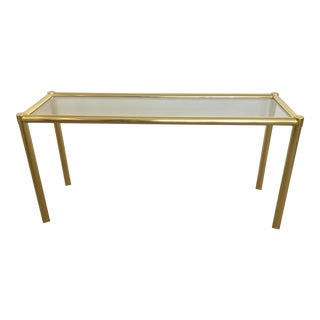 Baughman Style Brass & Glass Sofa Table