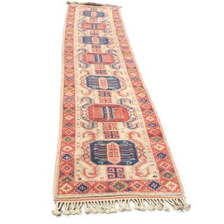 "Vintage Hand Knotted Wool Runner Rug - 2'10"" X 12'"