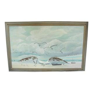 Vintage Edward Beahm Beachscape Oil on Canvas Painting