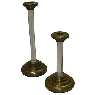 Karl Springer Lucite Brass Candleholders - A Pair