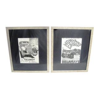 "Framed 1930s French Advertising ""Autos"" Prints - A Pair"